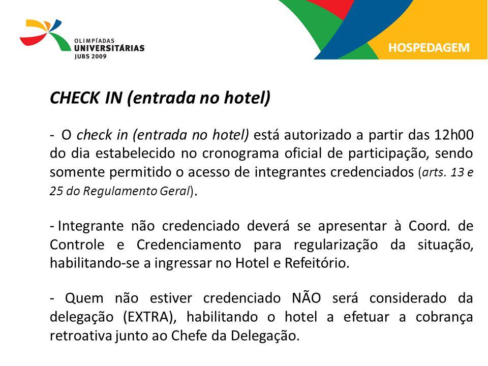 CHECK IN (entrada no hotel)