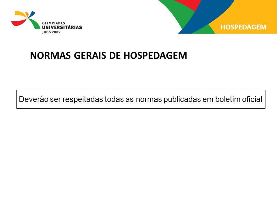 NORMAS GERAIS DE HOSPEDAGEM