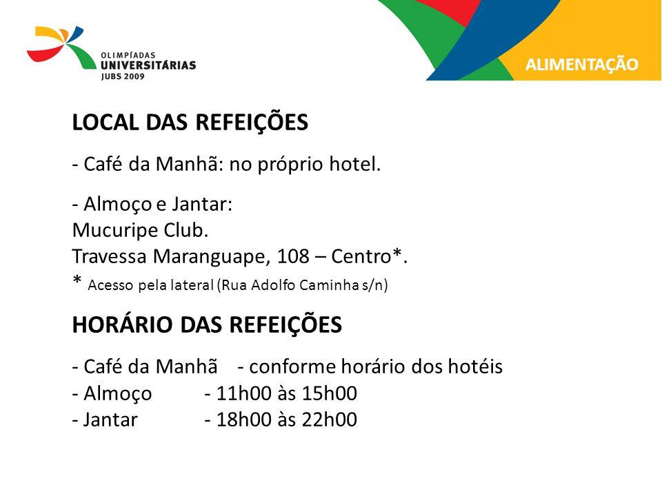 LOCAL DAS REFEIÇÕES HORÁRIO DAS REFEIÇÕES