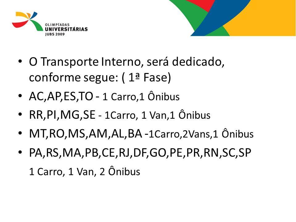 O Transporte Interno, será dedicado, conforme segue: ( 1ª Fase)