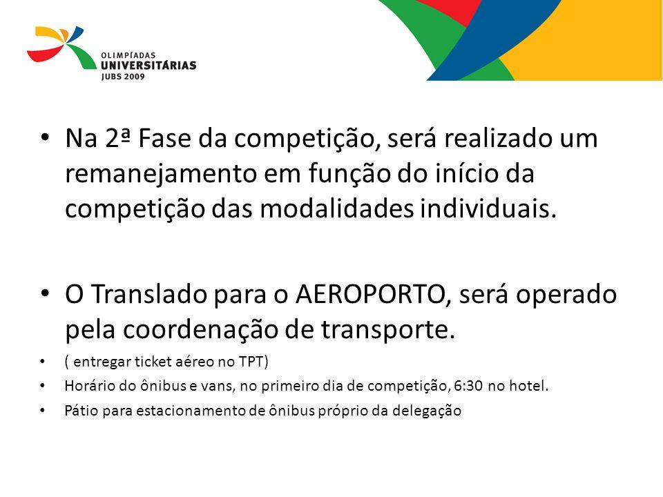 08/13/09 Na 2ª Fase da competição, será realizado um remanejamento em função do início da competição das modalidades individuais.