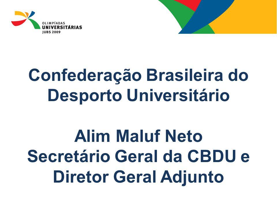 08/13/09 Confederação Brasileira do Desporto Universitário Alim Maluf Neto Secretário Geral da CBDU e Diretor Geral Adjunto.