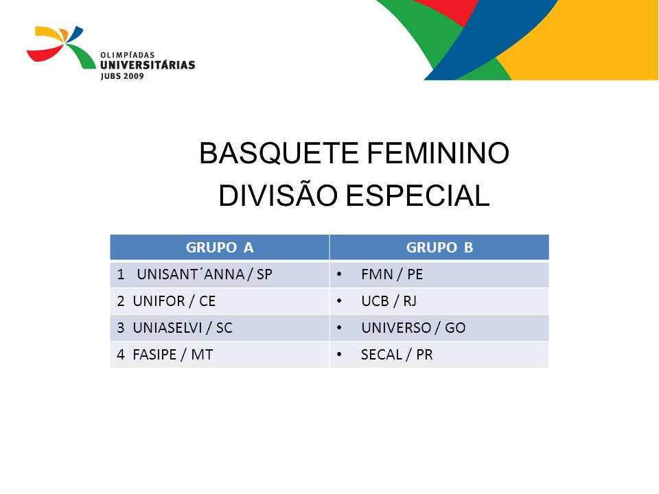 BASQUETE FEMININO DIVISÃO ESPECIAL GRUPO A GRUPO B 1 UNISANT´ANNA / SP