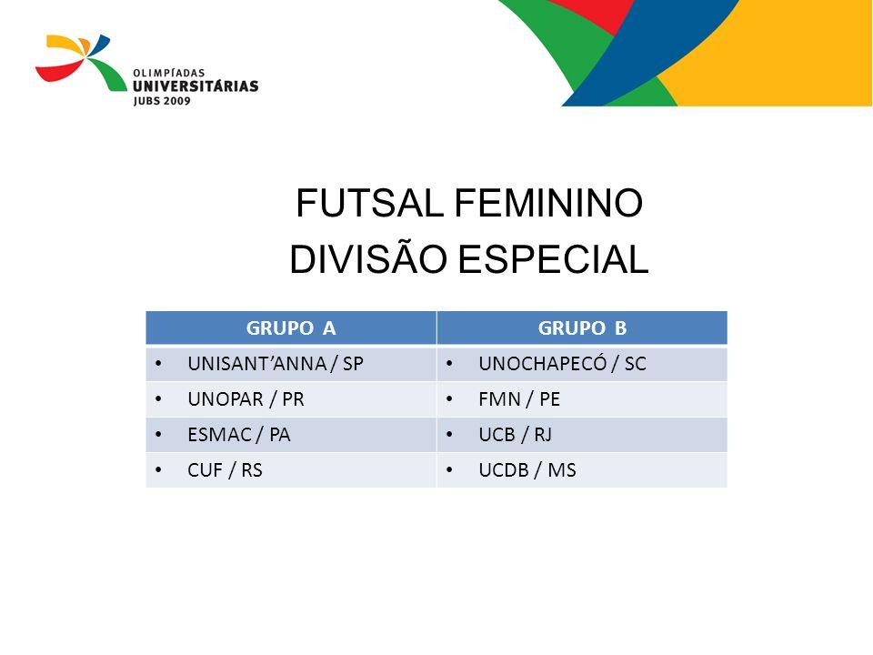 FUTSAL FEMININO DIVISÃO ESPECIAL GRUPO A GRUPO B UNISANT'ANNA / SP