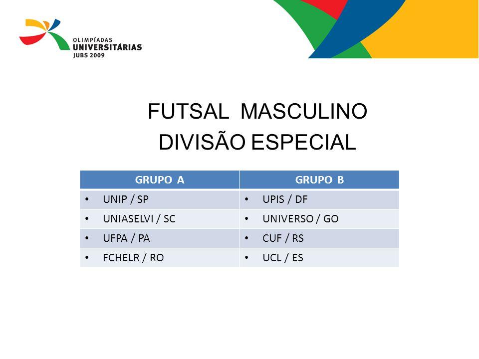 FUTSAL MASCULINO DIVISÃO ESPECIAL GRUPO A GRUPO B UNIP / SP UPIS / DF