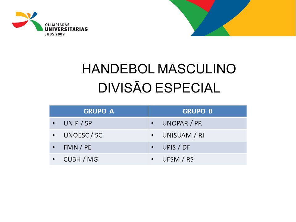 HANDEBOL MASCULINO DIVISÃO ESPECIAL GRUPO A GRUPO B UNIP / SP