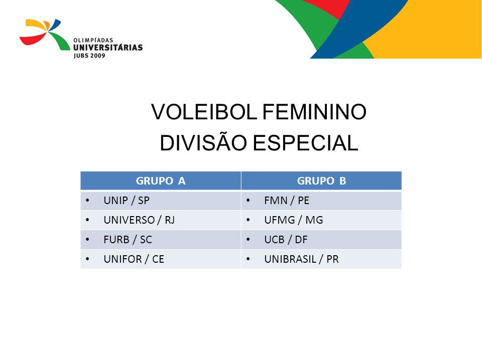VOLEIBOL FEMININO DIVISÃO ESPECIAL GRUPO A GRUPO B UNIP / SP FMN / PE