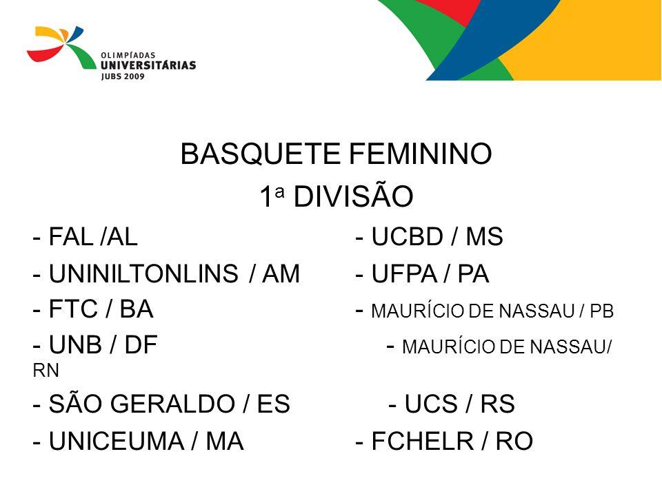 BASQUETE FEMININO 1a DIVISÃO - FAL /AL - UCBD / MS