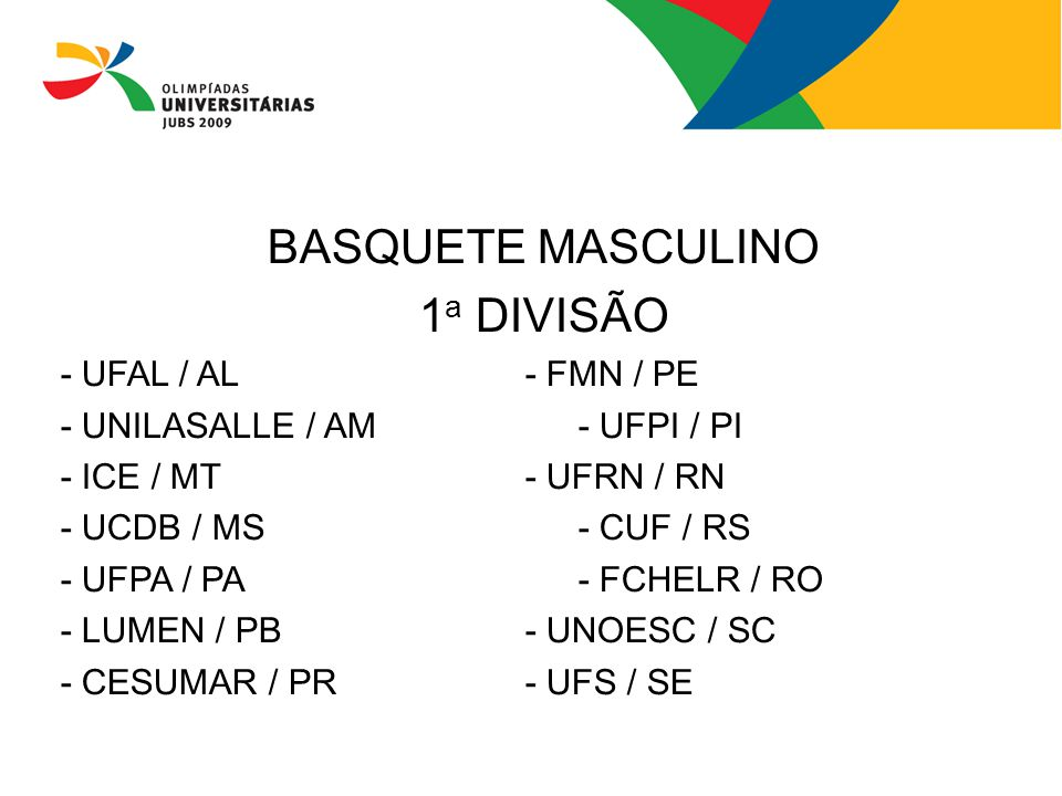 BASQUETE MASCULINO 1a DIVISÃO - UFAL / AL - FMN / PE
