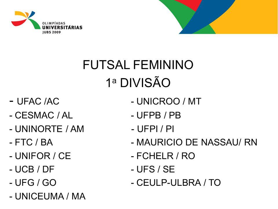 FUTSAL FEMININO 1a DIVISÃO - UFAC /AC - UNICROO / MT