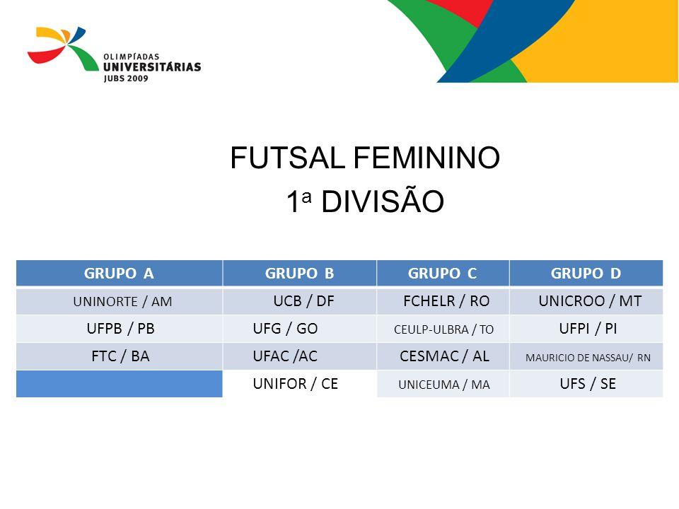 FUTSAL FEMININO 1a DIVISÃO GRUPO A GRUPO B GRUPO C GRUPO D