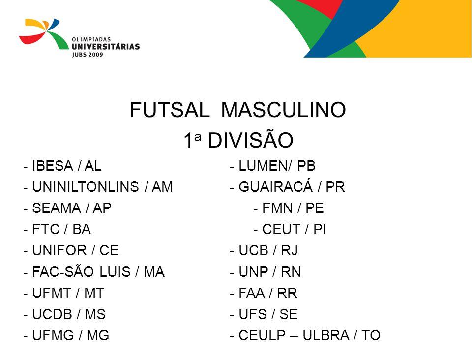 FUTSAL MASCULINO 1a DIVISÃO - IBESA / AL - LUMEN/ PB