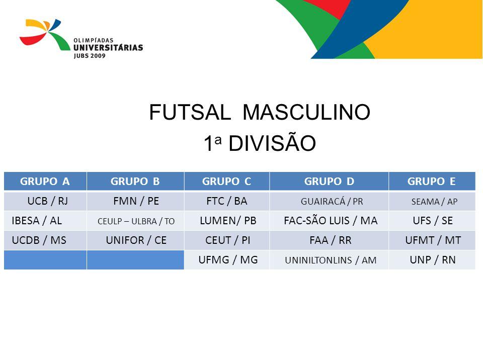 FUTSAL MASCULINO 1a DIVISÃO GRUPO A GRUPO B GRUPO C GRUPO D GRUPO E