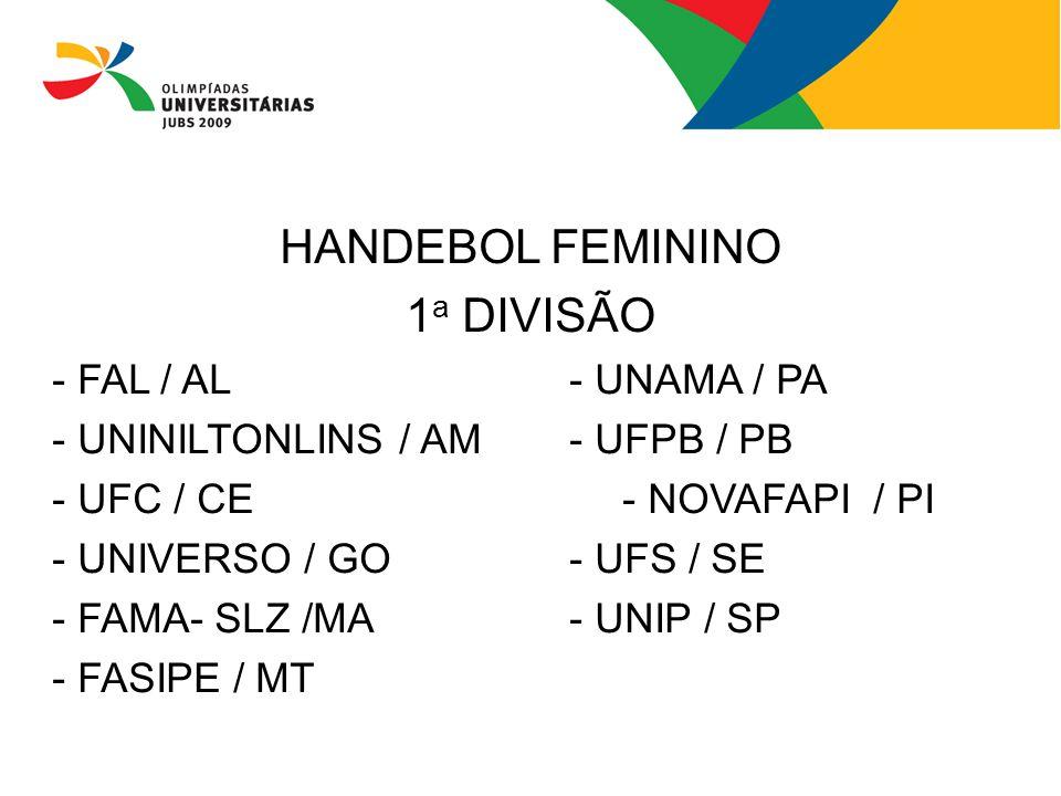 HANDEBOL FEMININO 1a DIVISÃO - FAL / AL - UNAMA / PA