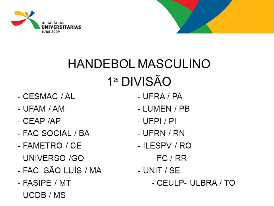 HANDEBOL MASCULINO 1a DIVISÃO - CESMAC / AL - UFRA / PA