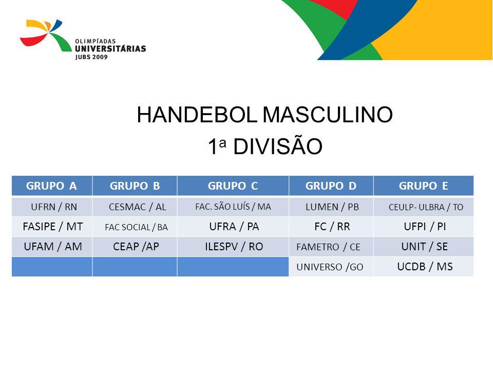 HANDEBOL MASCULINO 1a DIVISÃO GRUPO A GRUPO B GRUPO C GRUPO D GRUPO E