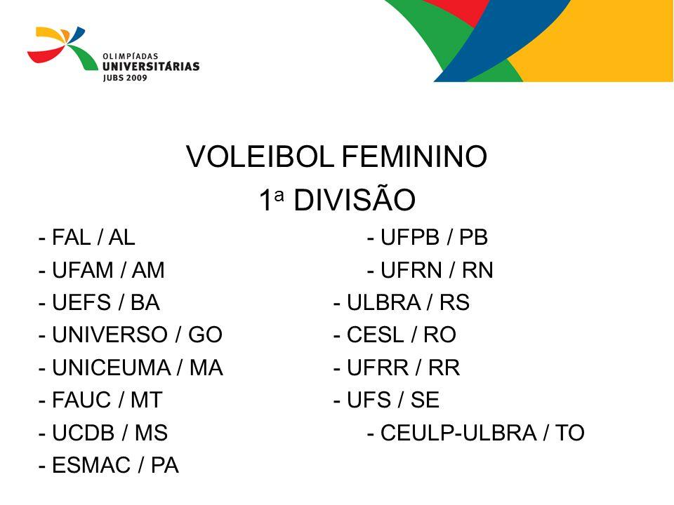 VOLEIBOL FEMININO 1a DIVISÃO - FAL / AL - UFPB / PB