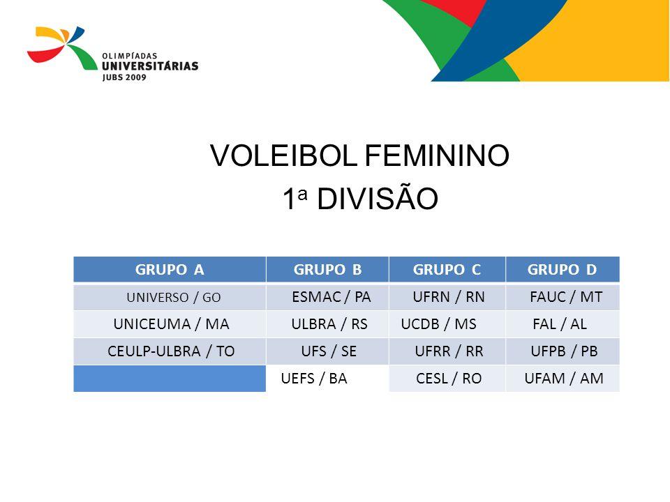 VOLEIBOL FEMININO 1a DIVISÃO GRUPO A GRUPO B GRUPO C GRUPO D