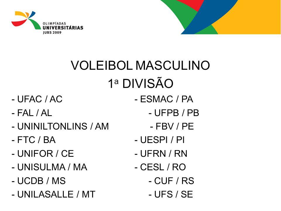 VOLEIBOL MASCULINO 1a DIVISÃO - UFAC / AC - ESMAC / PA