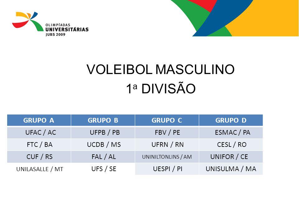 VOLEIBOL MASCULINO 1a DIVISÃO GRUPO A GRUPO B GRUPO C GRUPO D