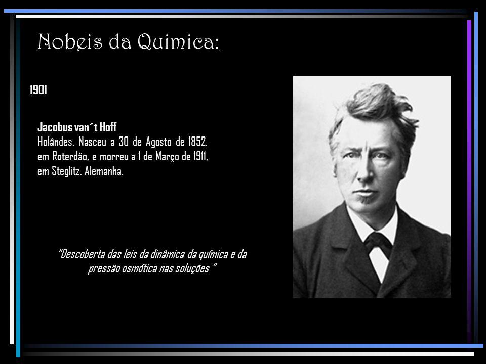 Nobeis da Quimica: 1901 Jacobus van´t Hoff