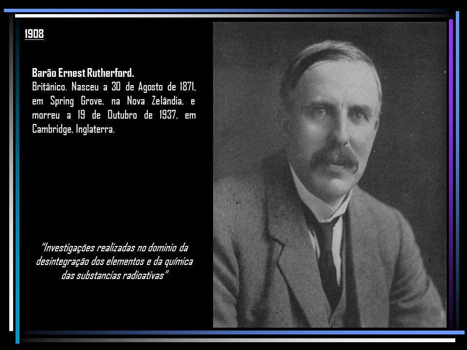 1908 Barão Ernest Rutherford.