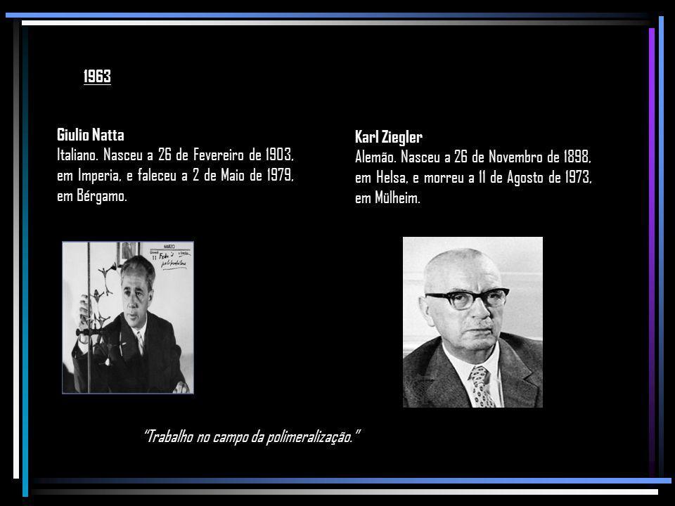 1963 Giulio Natta. Italiano. Nasceu a 26 de Fevereiro de 1903, em Imperia, e faleceu a 2 de Maio de 1979, em Bérgamo.