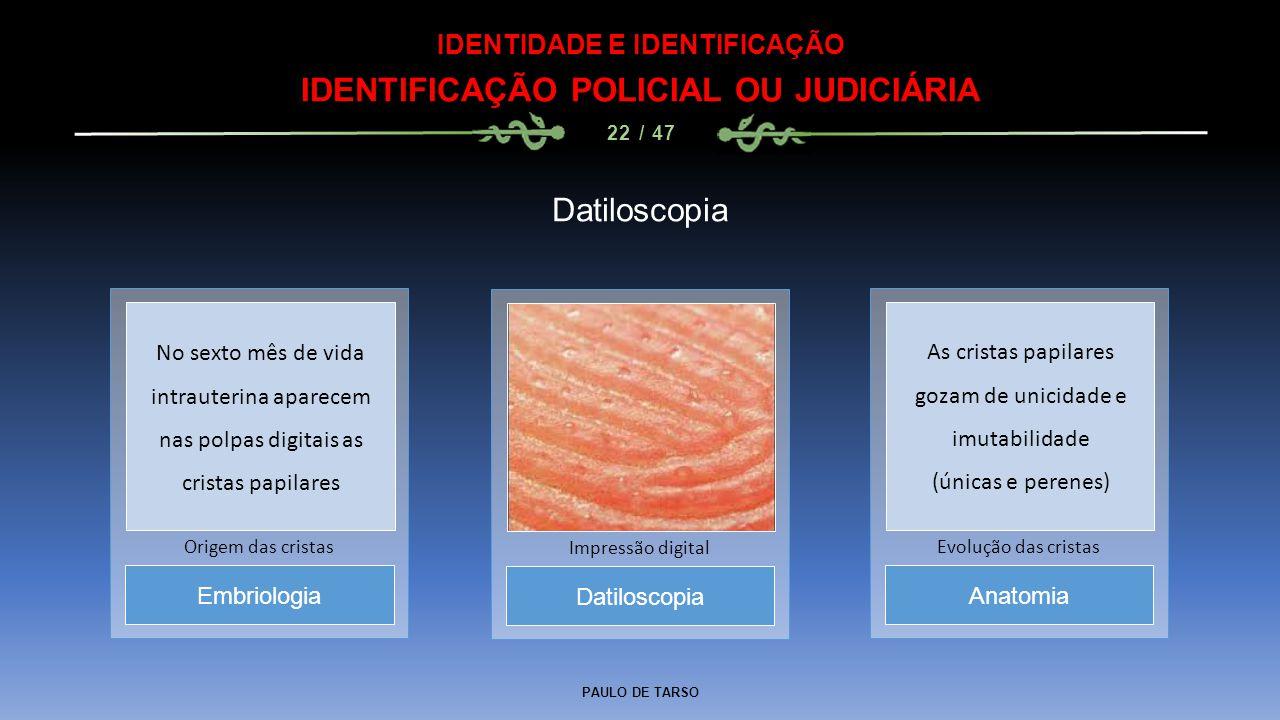 IDENTIDADE E IDENTIFICAÇÃO IDENTIFICAÇÃO POLICIAL OU JUDICIÁRIA