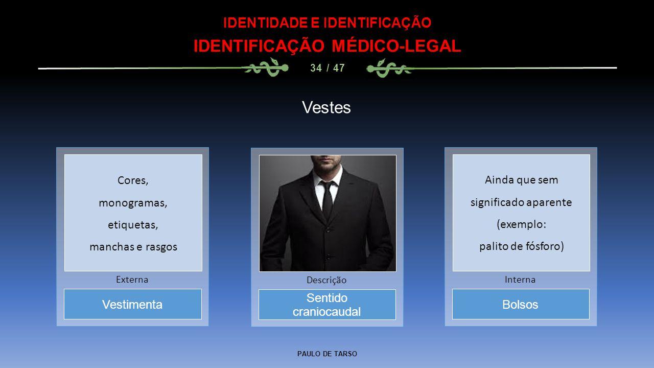 IDENTIDADE E IDENTIFICAÇÃO IDENTIFICAÇÃO MÉDICO-LEGAL