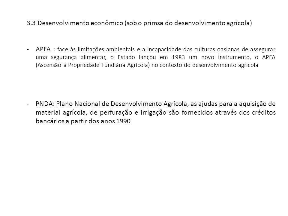 3.3 Desenvolvimento econômico (sob o primsa do desenvolvimento agrícola)