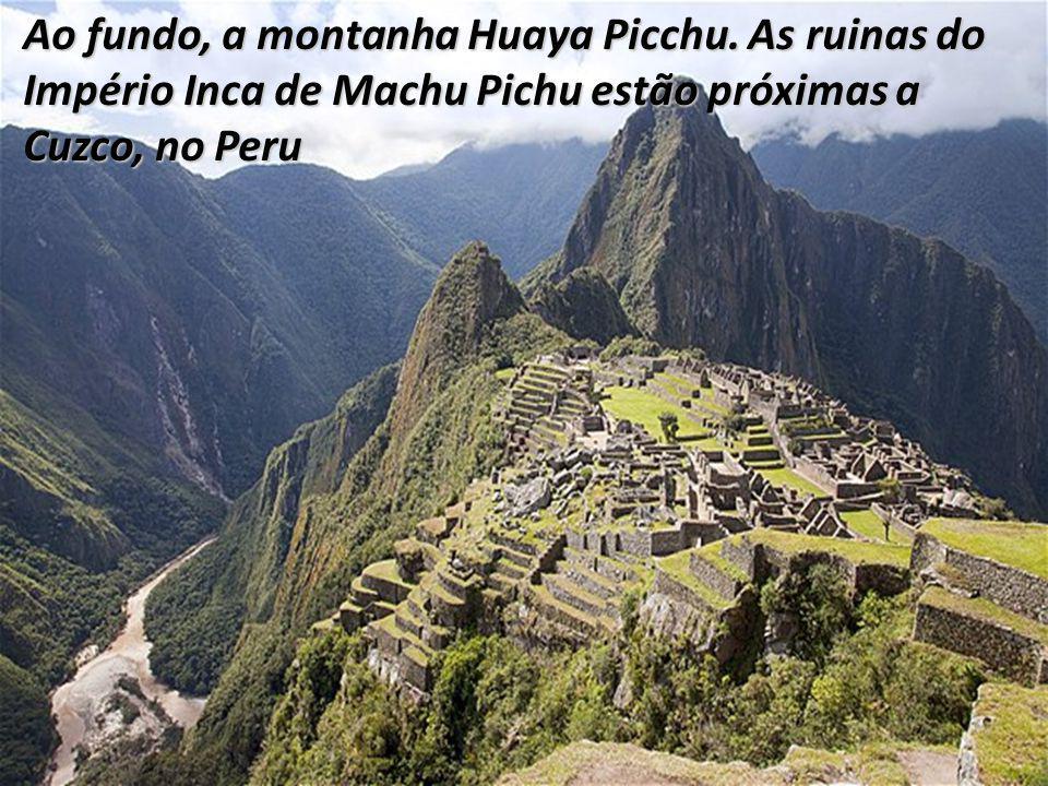 Ao fundo, a montanha Huaya Picchu