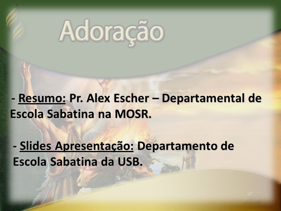 - Resumo: Pr. Alex Escher – Departamental de