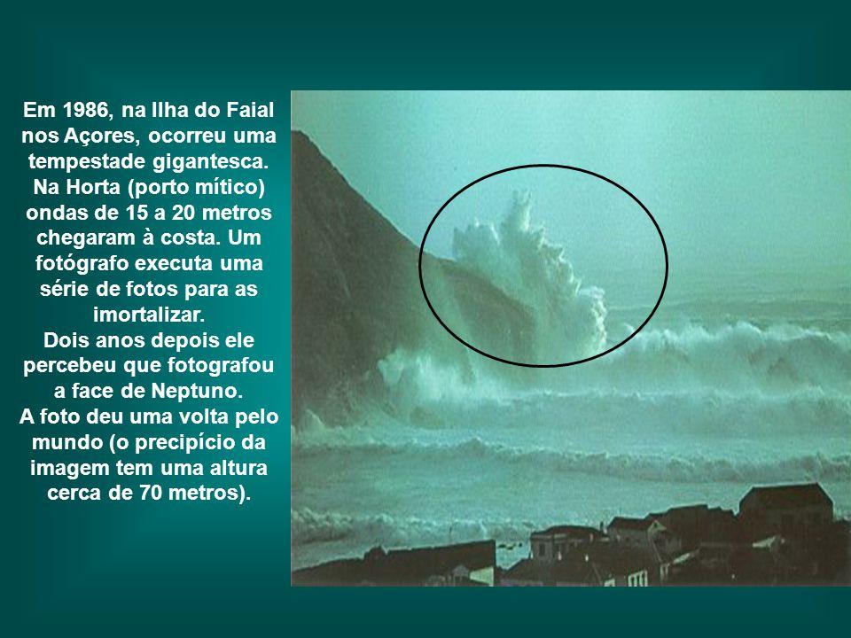 Em 1986, na Ilha do Faial nos Açores, ocorreu uma tempestade gigantesca. Na Horta (porto mítico) ondas de 15 a 20 metros chegaram à costa. Um fotógrafo executa uma série de fotos para as imortalizar. Dois anos depois ele percebeu que fotografou a face de Neptuno.