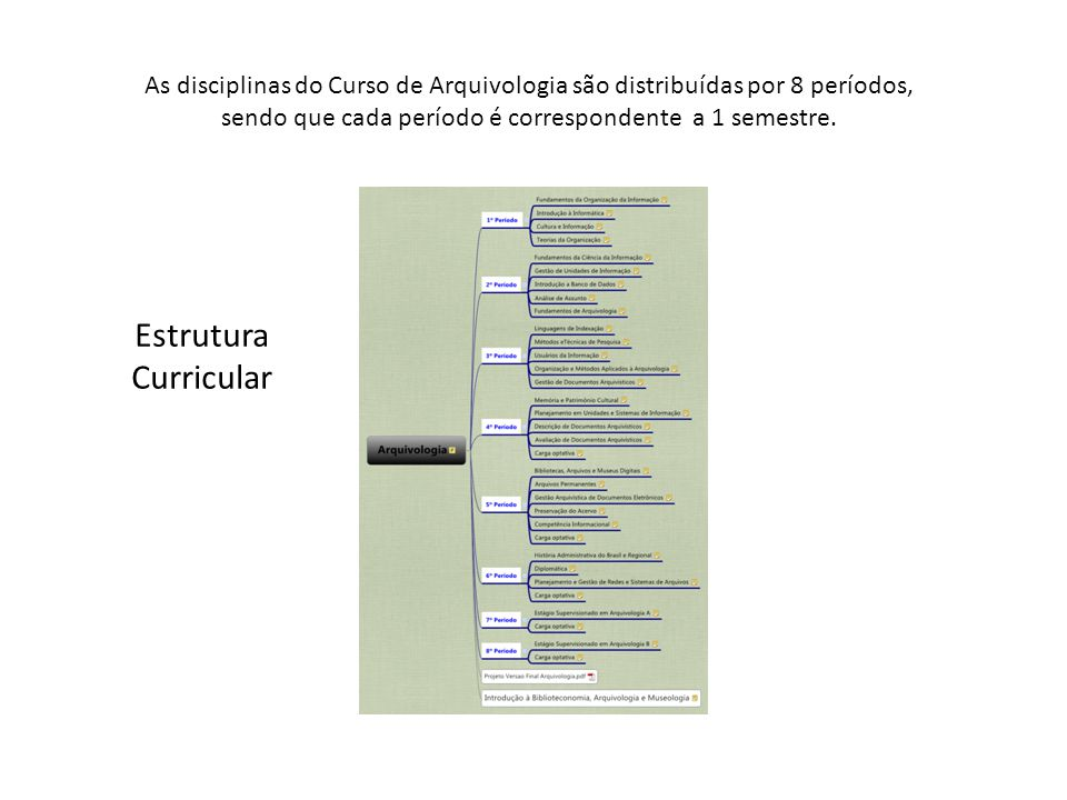 As disciplinas do Curso de Arquivologia são distribuídas por 8 períodos, sendo que cada período é correspondente a 1 semestre.