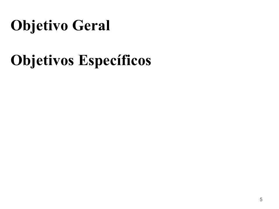 Objetivo Geral Objetivos Específicos