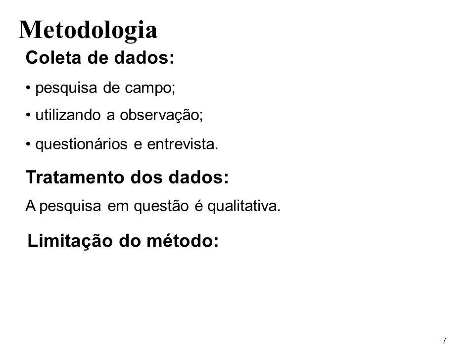 Metodologia Coleta de dados: Tratamento dos dados: