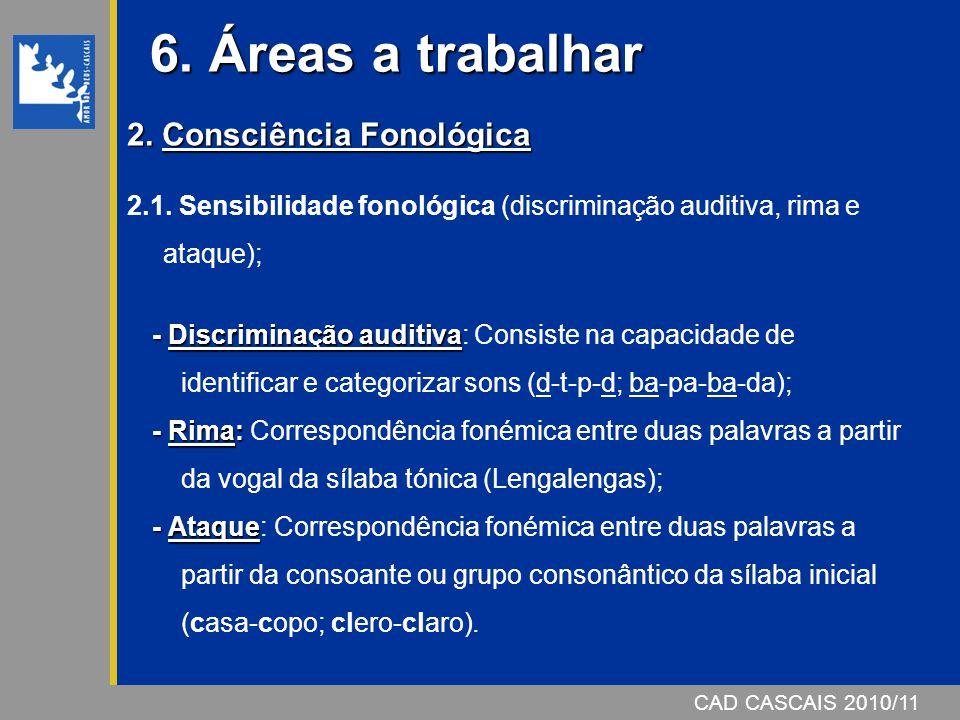 6. Áreas a trabalhar 2. Consciência Fonológica
