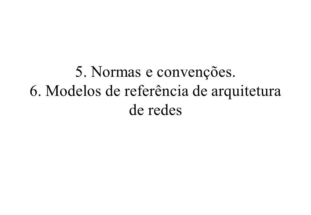 5. Normas e convenções. 6. Modelos de referência de arquitetura de redes