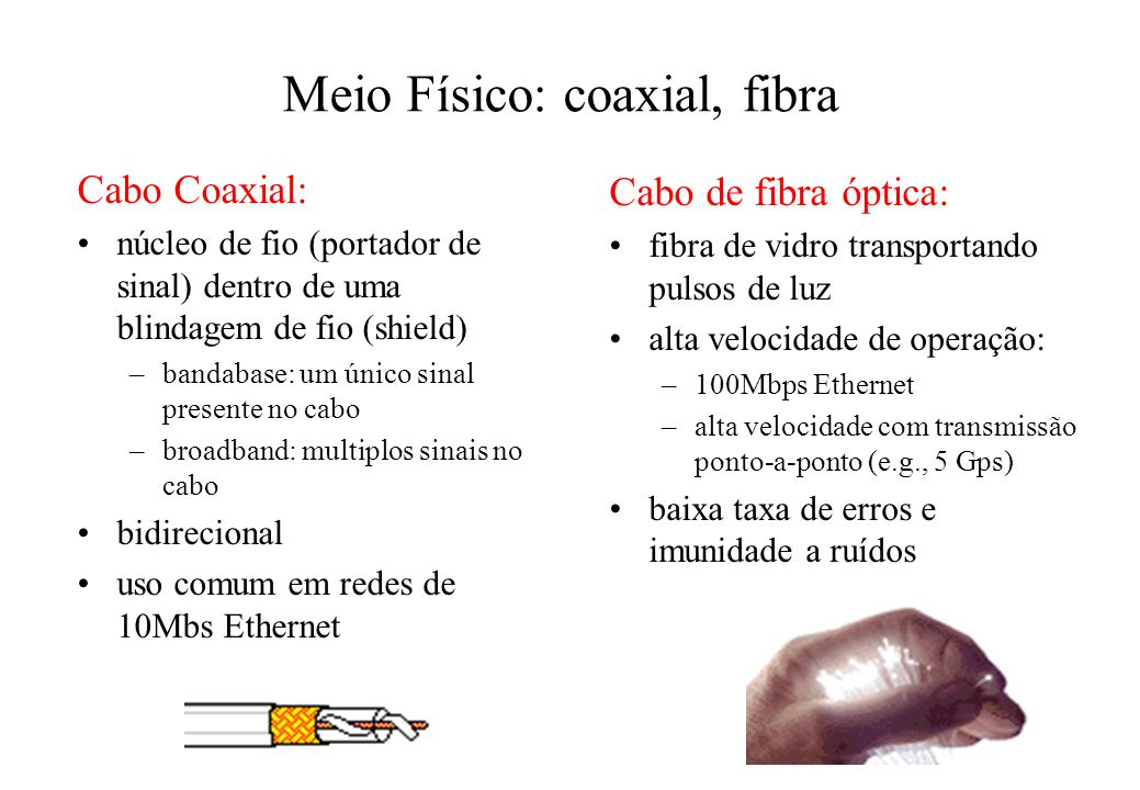 Meio Físico: coaxial, fibra