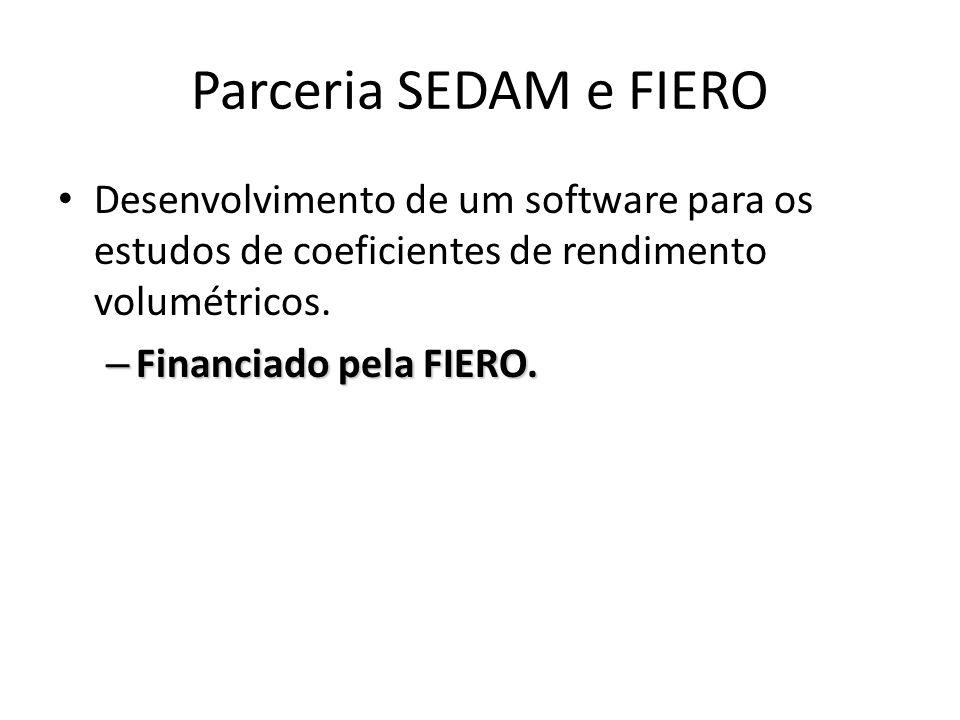 Parceria SEDAM e FIERO Desenvolvimento de um software para os estudos de coeficientes de rendimento volumétricos.