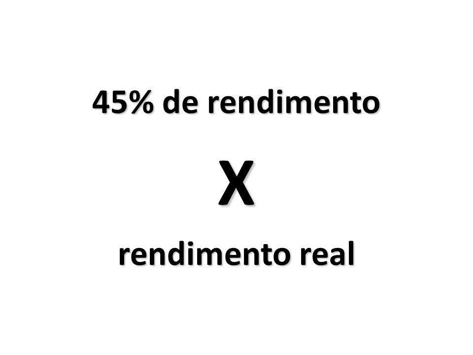 45% de rendimento X rendimento real