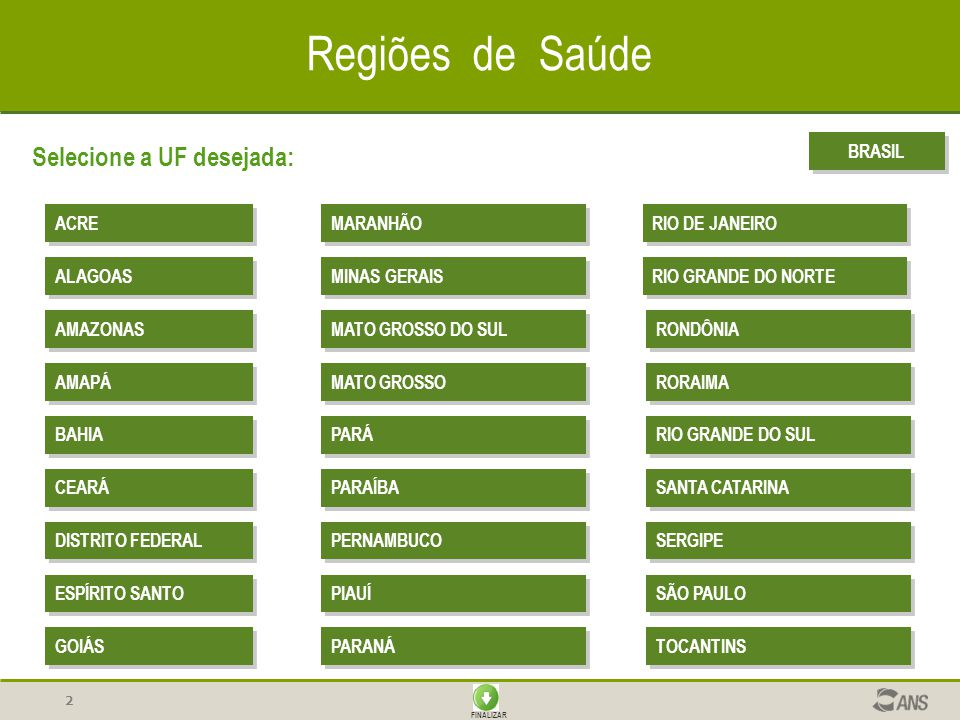 Regiões de Saúde Selecione a UF desejada: BRASIL ACRE MARANHÃO