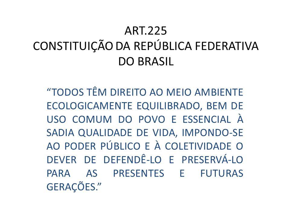 ART.225 CONSTITUIÇÃO DA REPÚBLICA FEDERATIVA DO BRASIL