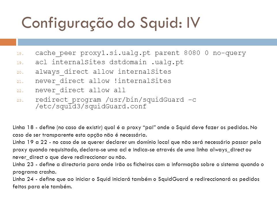 Configuração do Squid: IV