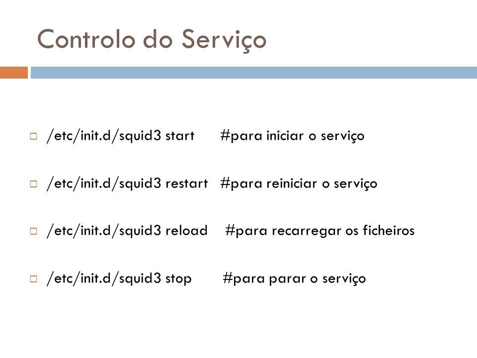 Controlo do Serviço /etc/init.d/squid3 start #para iniciar o serviço