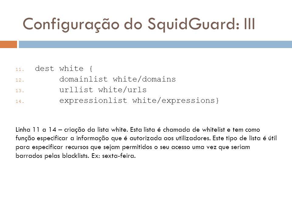 Configuração do SquidGuard: III