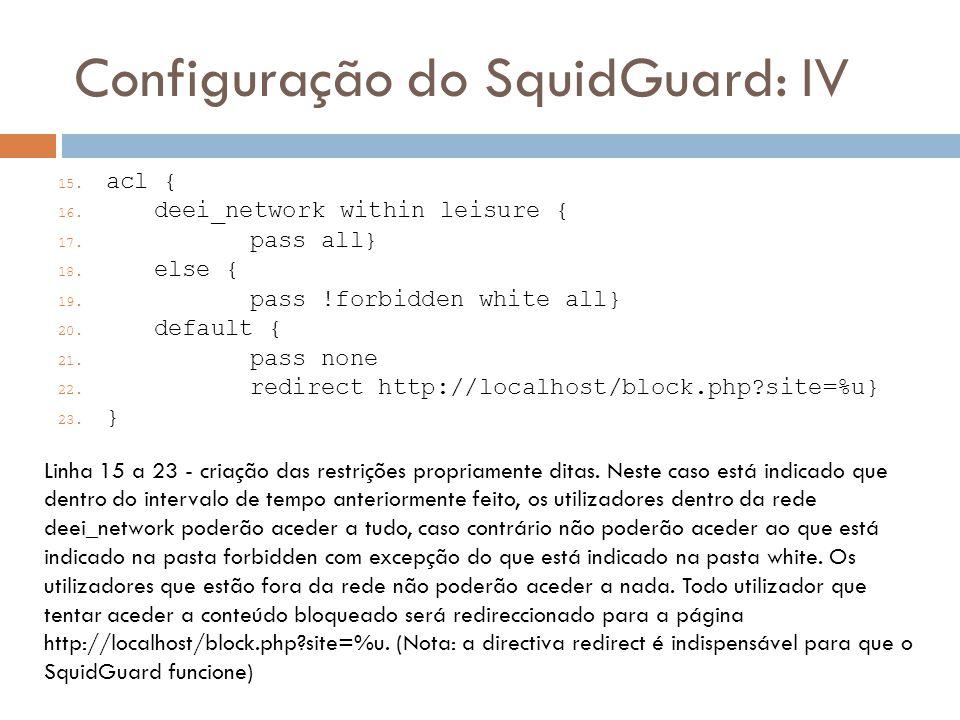 Configuração do SquidGuard: IV