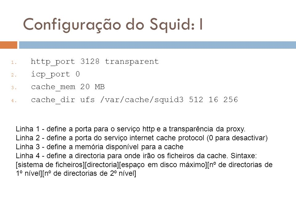 Configuração do Squid: I