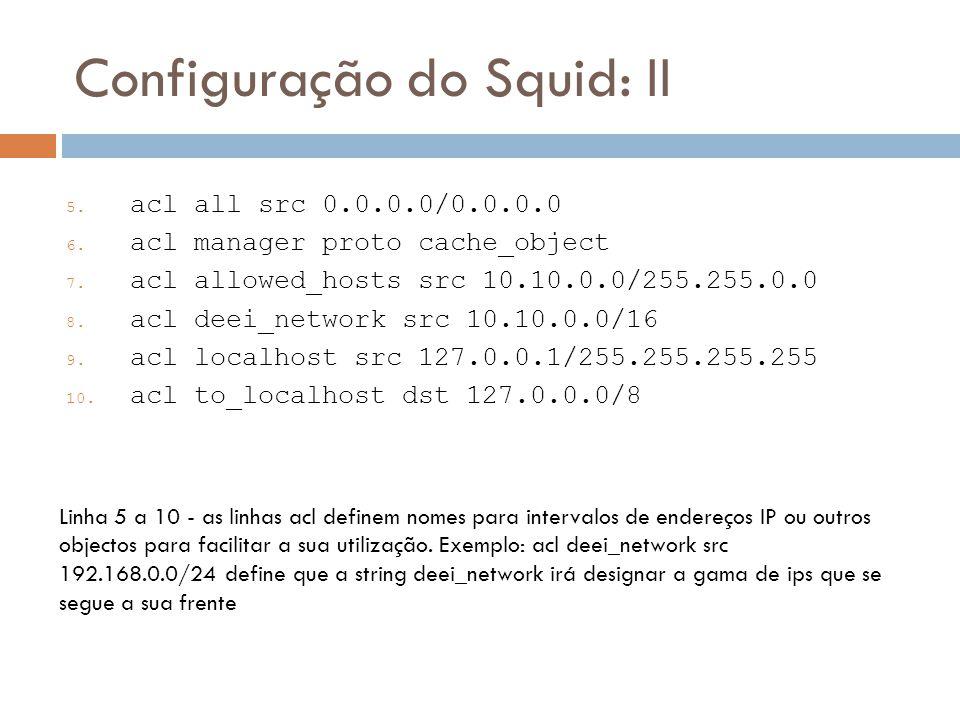 Configuração do Squid: II
