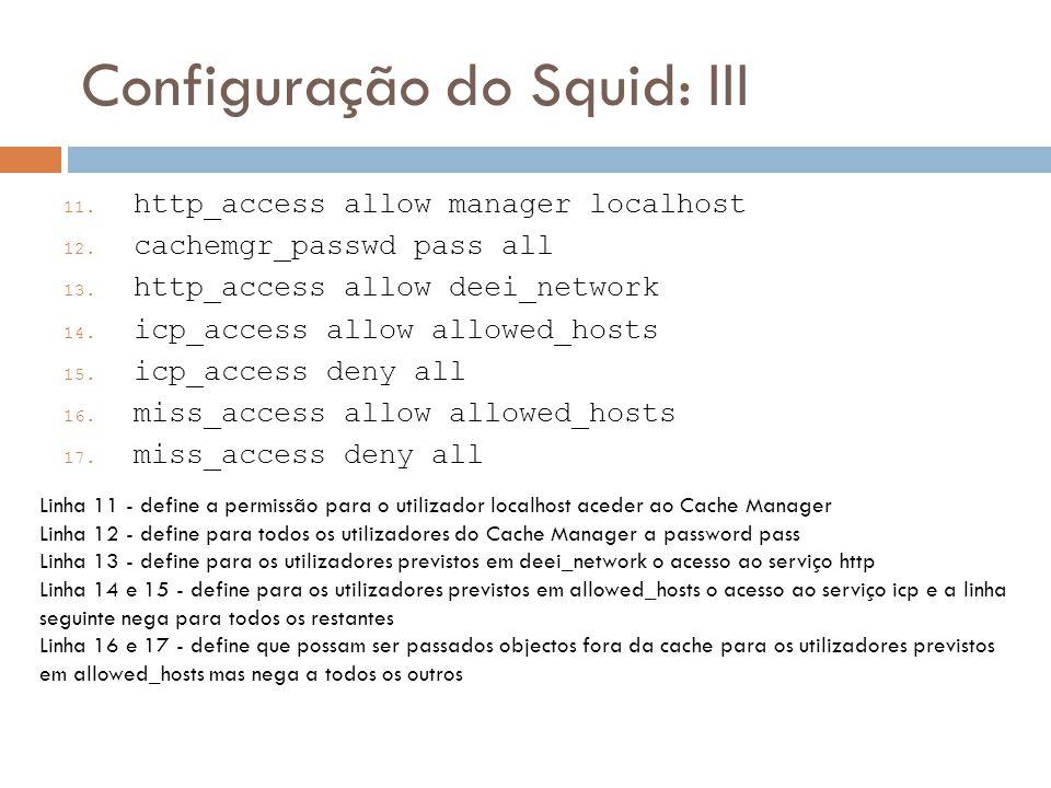 Configuração do Squid: III